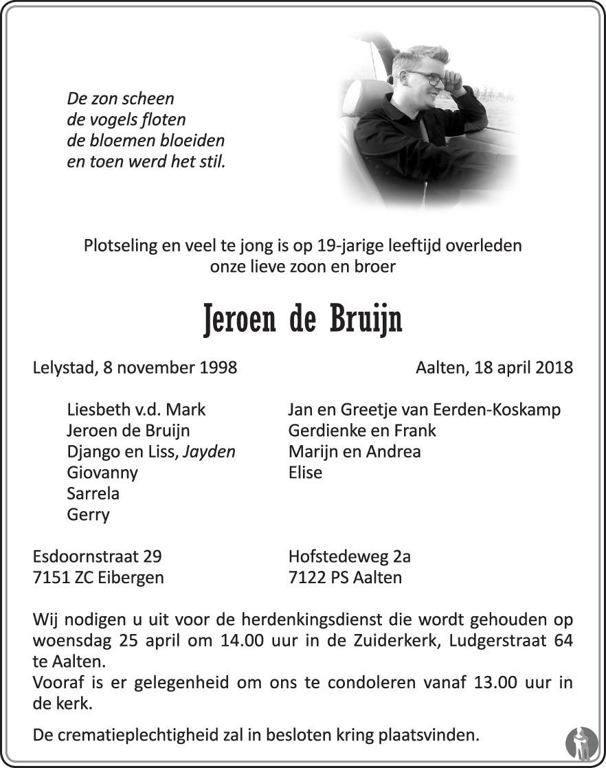 De Bruyn Koeriers.Jeroen De Bruijn 18 04 2018 Overlijdensbericht En Condoleances