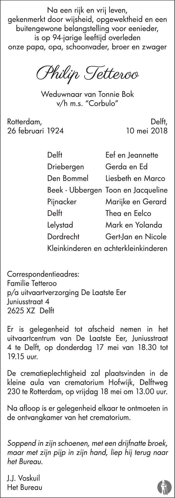 Overlijdensbericht van Philip Tetteroo in Delftse Post