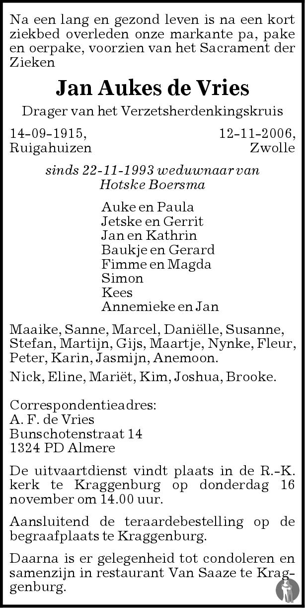 Overlijdensbericht van Jan Aukes de Vries in de Stentor