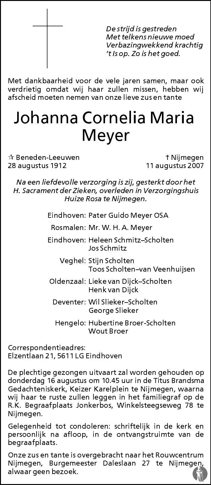 Overlijdensbericht van Johanna Cornelia Maria Meyer in de Gelderlander