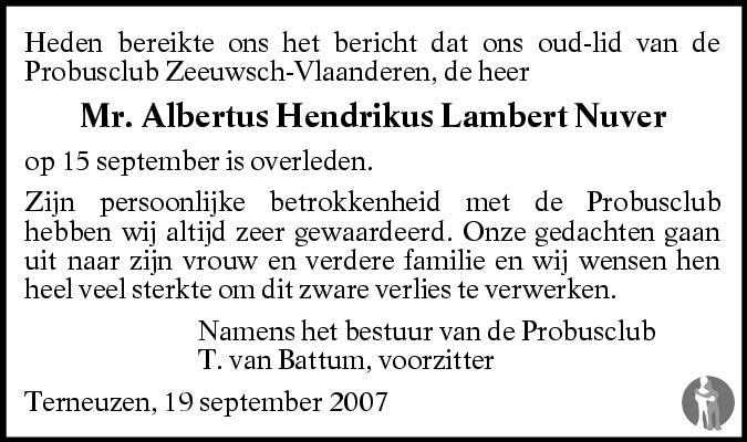 Overlijdensbericht van Albertus Hendrikus Lambert Nuver in BN DeStem