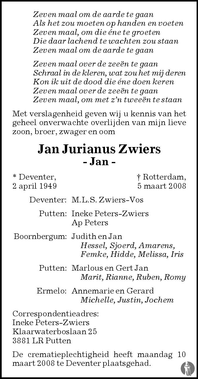Jurianus Jan Zwiers 05 03 2008 Overlijdensbericht En