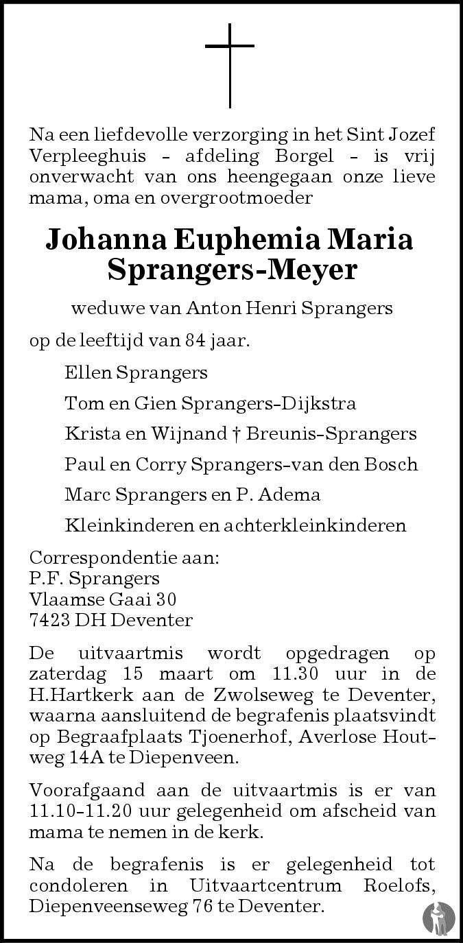 Overlijdensbericht van Johanna Euphemia Maria Sprangers - Meyer in de Stentor