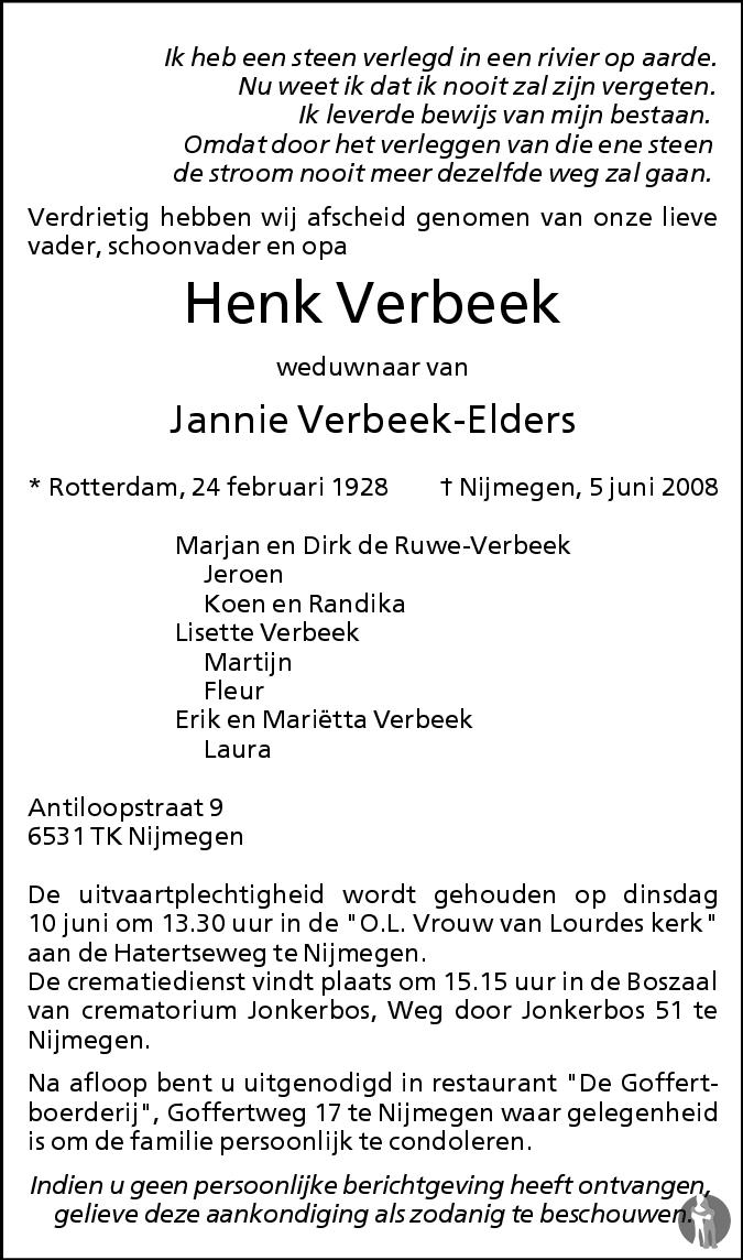 Henk Verbeek 05-06-2008 overlijdensbericht en condoleances ...