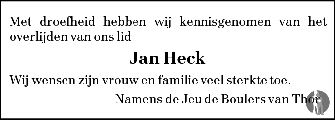 Overlijdensbericht van Jan Heck in BN DeStem