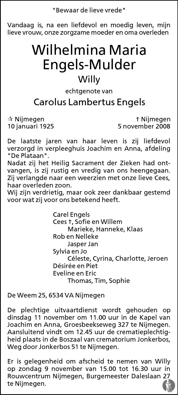 Wilhelmina Maria Willy Engels Mulder 05 11 2008