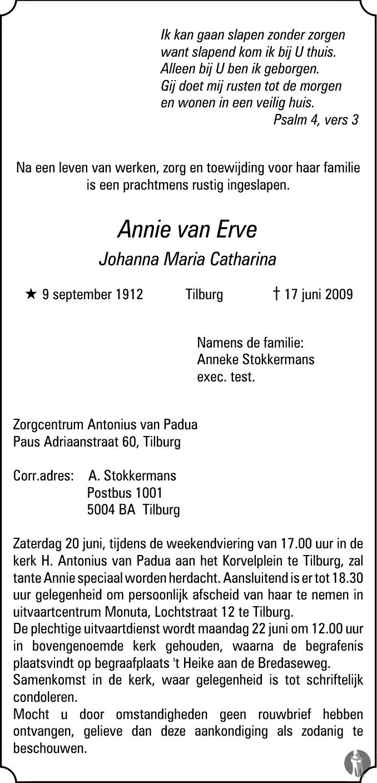 Overlijdensbericht van Johanna Maria Catharina (Annie) van Erve in Brabants Dagblad