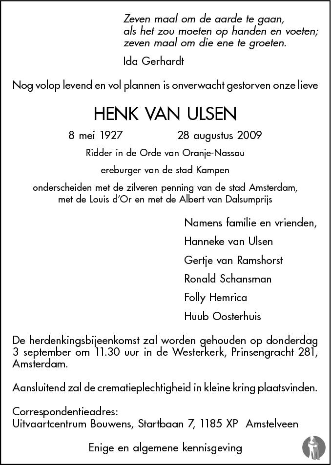 Henk Van Ulsen 28 08 2009 Overlijdensbericht En