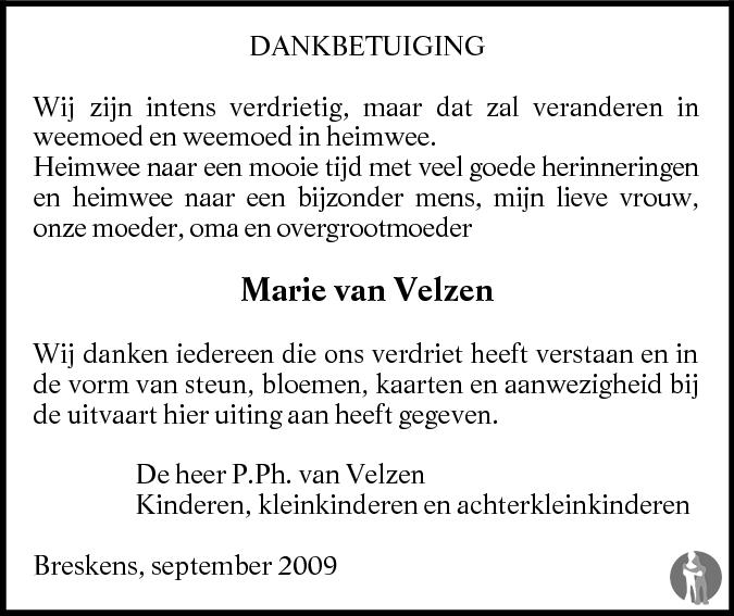Overlijdensbericht van Maria Jozina van Velzen - de Meyer in PZC Provinciale Zeeuwse Courant