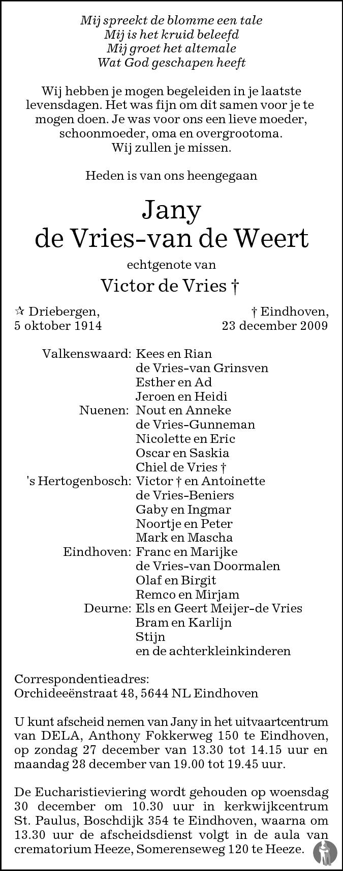 Jany De Vries Van De Weert 23 12 2009 Overlijdensbericht En