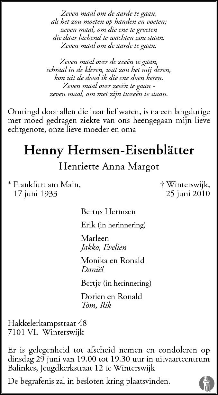 Henriette Anna Margot Henny Hermsen Eisenblätter 25
