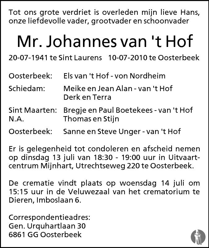Mr johannes van 39 t hof 10 07 2010 overlijdensbericht en for Johannes hof