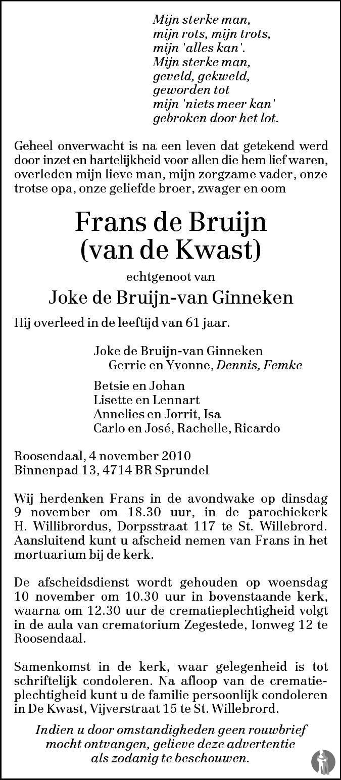 784d3f7577f Frans (van de Kwast) de Bruijn ✝ 04-11-2010 overlijdensbericht en ...