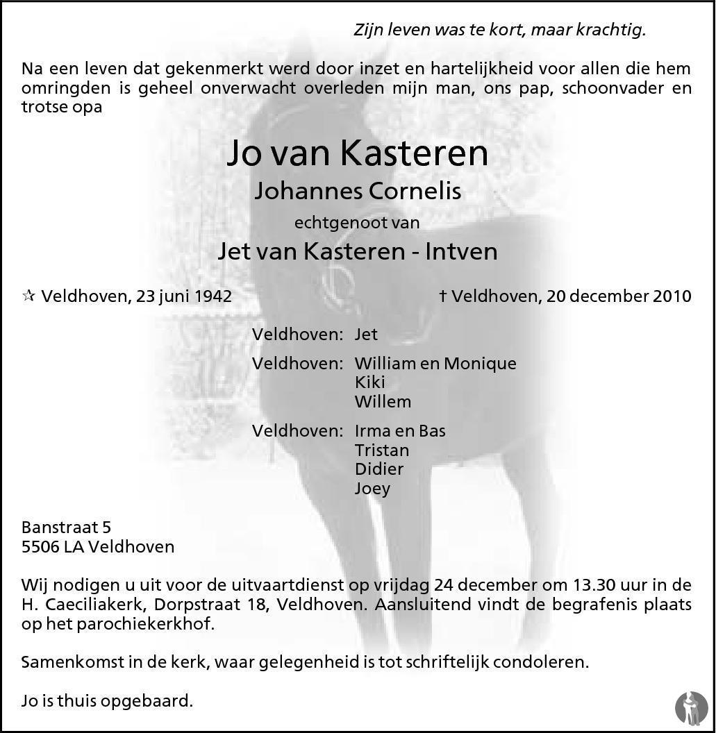 Johannes Cornelis Jo Van Kasteren 20 12 2010
