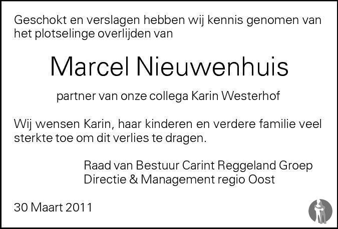 Overlijdensbericht van Marcel Albertus (Marcel) Nieuwenhuis in Tubantia