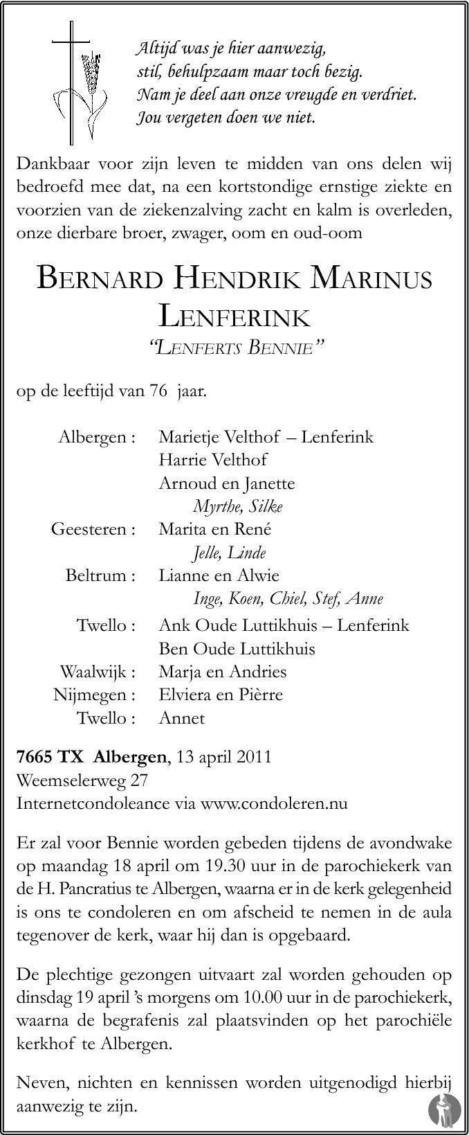 Bernard Hendrik Marinus Lenferts Bennie Lenferink 13 04