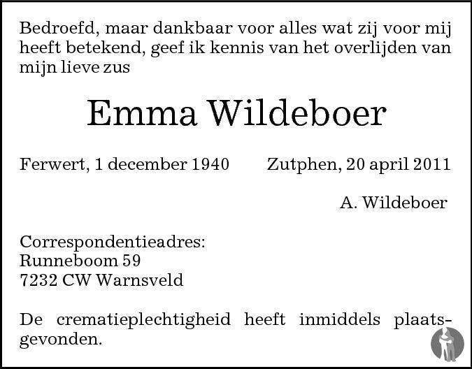 Overlijdensbericht van Emma Wildeboer in de Stentor