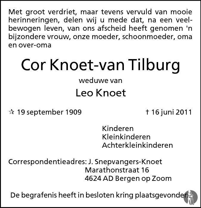Overlijdensbericht van Cor Knoet - van Tilburg in BN DeStem