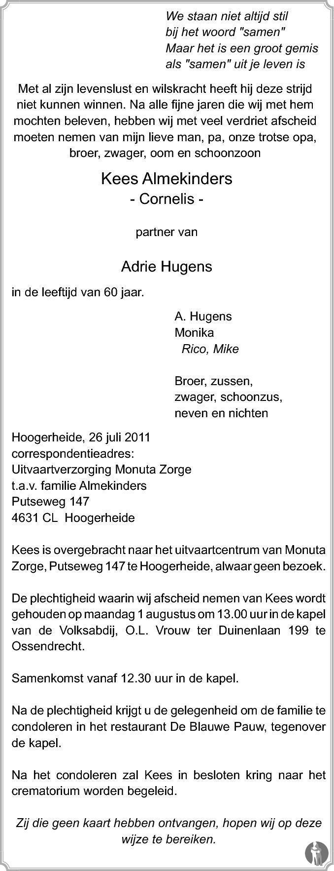 Overlijdensbericht van Cornelis (Kees) Almekinders in BN DeStem