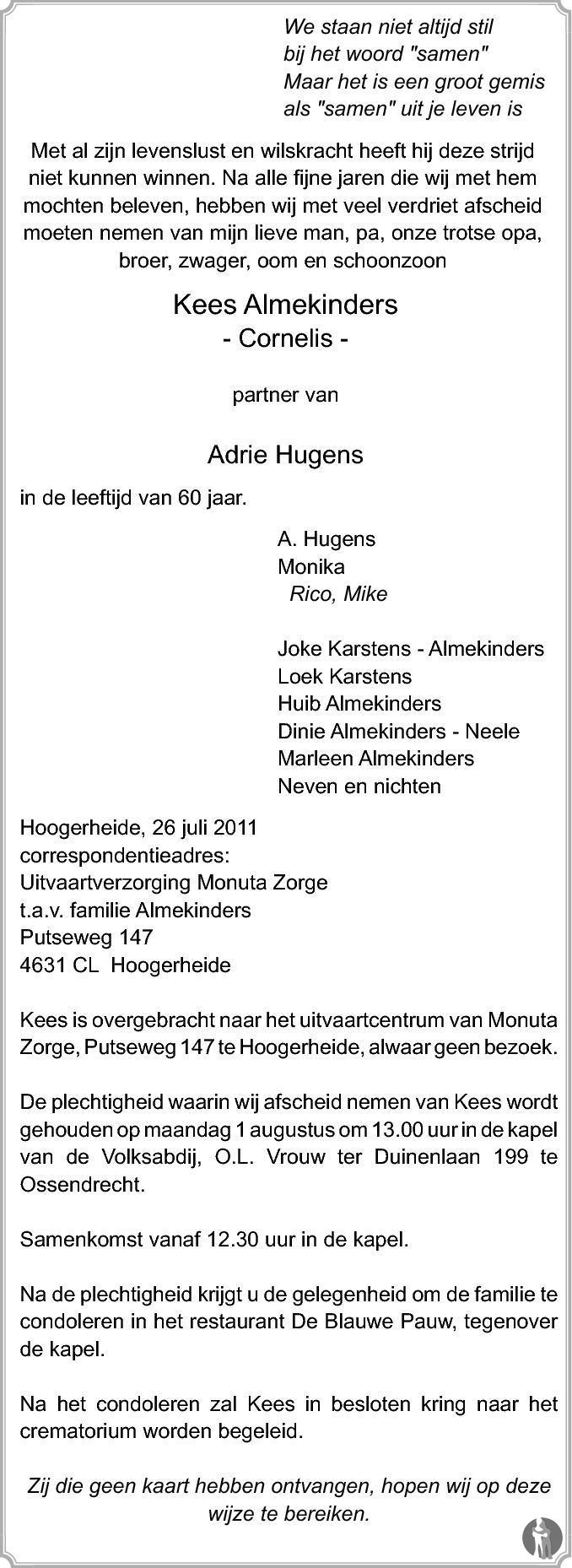 Overlijdensbericht van Cornelis (Kees) Almekinders in PZC Provinciale Zeeuwse Courant
