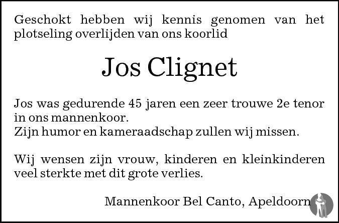 Overlijdensbericht van Josef Egidius (Sjors) Clignet in de Stentor