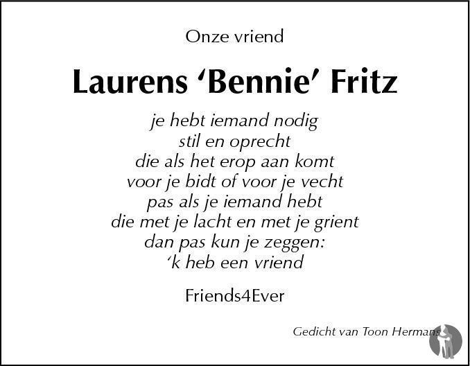 Laurens Fritz 09 11 2011 Overlijdensbericht En