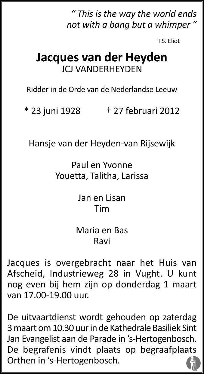 Overlijdensbericht van Jacques (JCJ) van der Heyden in Brabants Dagblad