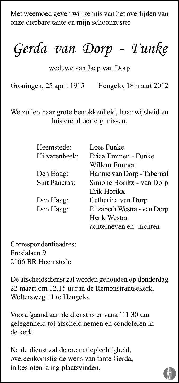 Overlijdensbericht van Gerda van Dorp - Funke in Tubantia