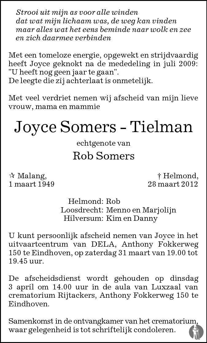 Overlijdensbericht van Joyce Somers - Tielman in Eindhovens Dagblad