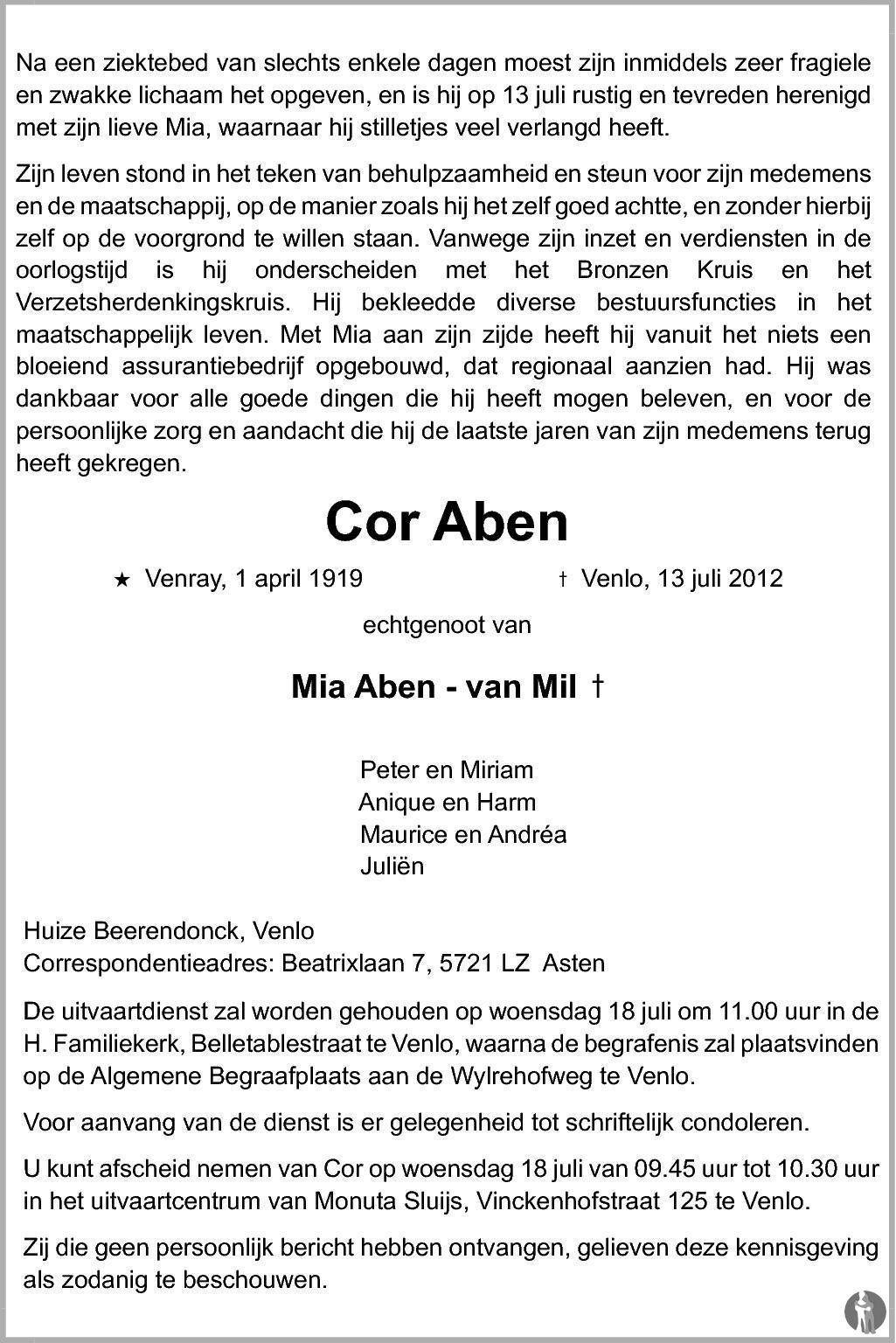 Overlijdensbericht van Cor Aben in De Limburger
