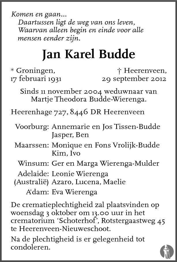 Overlijdensbericht van Jan Karel Budde in de Stentor