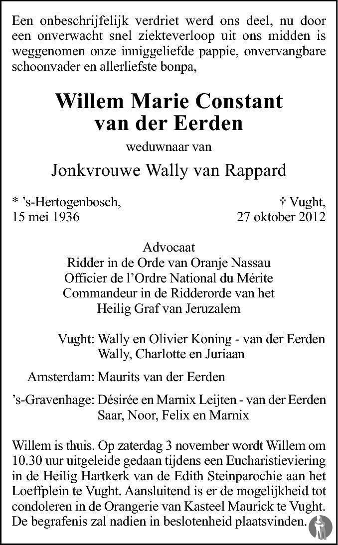 Overlijdensbericht van Willem Marie Constant van der Eerden in Brabants Dagblad