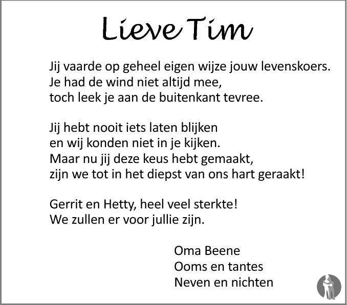 Overlijdensbericht van Tim Ribberink in Tubantia
