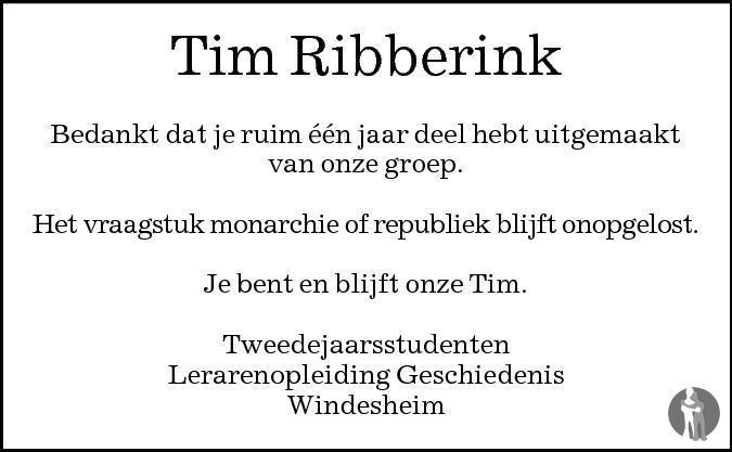 Overlijdensbericht van Tim Ribberink in de Stentor