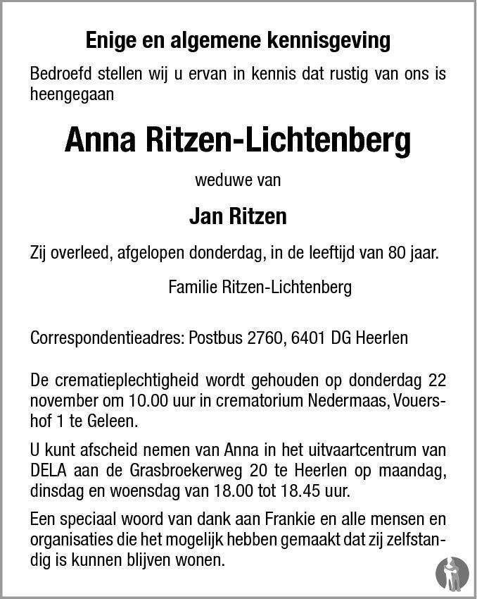 anna ritzen lichtenberg 15 11 2012 overlijdensbericht en condoleances. Black Bedroom Furniture Sets. Home Design Ideas
