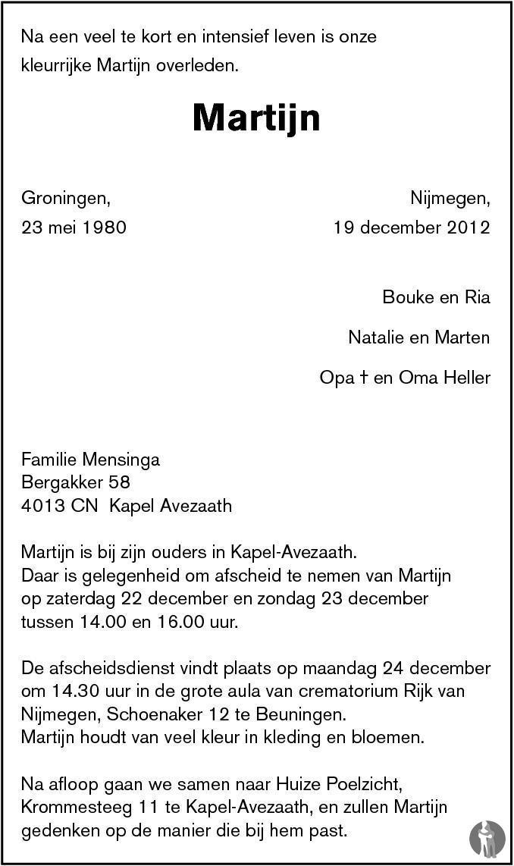 Martijn 19 12 2012 Overlijdensbericht En Condoleances Mensenlinqnl