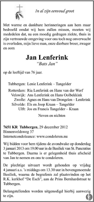 Jan Bats Jan Lenferink 29 12 2012 Overlijdensbericht En
