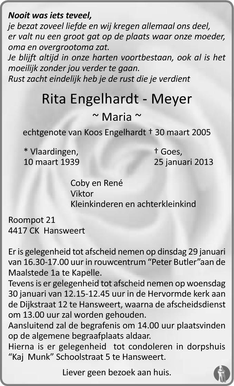 Overlijdensbericht van Rita (Maria) Engelhardt - Meyer in PZC Provinciale Zeeuwse Courant