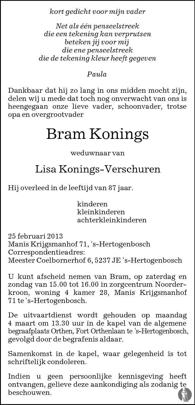 Bram Konings 25 02 2013 Overlijdensbericht En