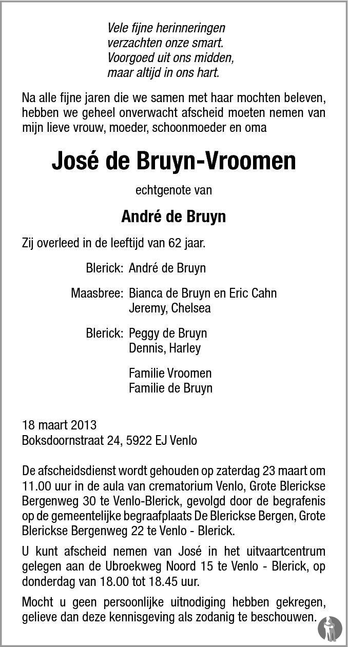 De Bruyn Koeriers.Jose De Bruyn Vroomen 18 03 2013 Overlijdensbericht En