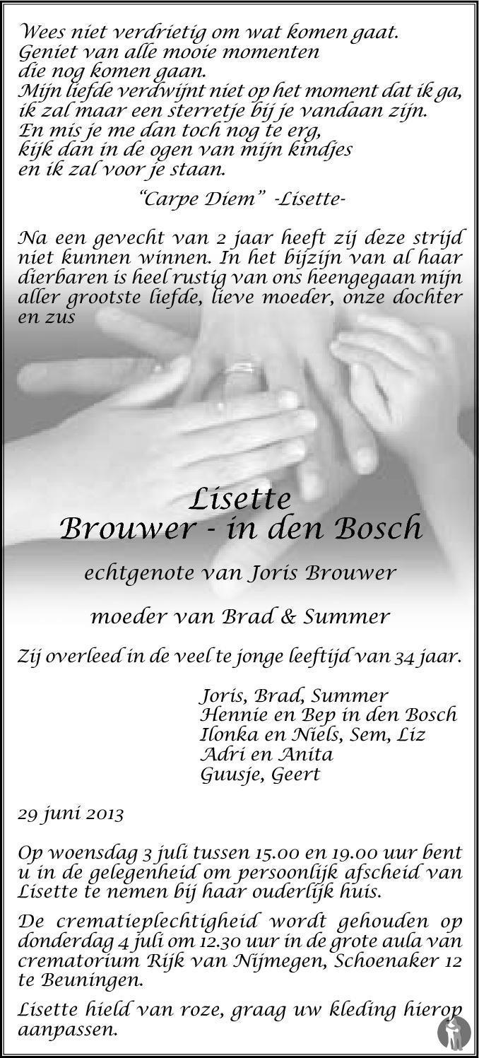 Lisette Brouwer In Den Bosch 29 06 2013 Overlijdensbericht En
