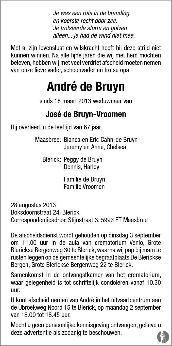 De Bruyn Koeriers.Andre De Bruyn 28 08 2013 Overlijdensbericht En Condoleances