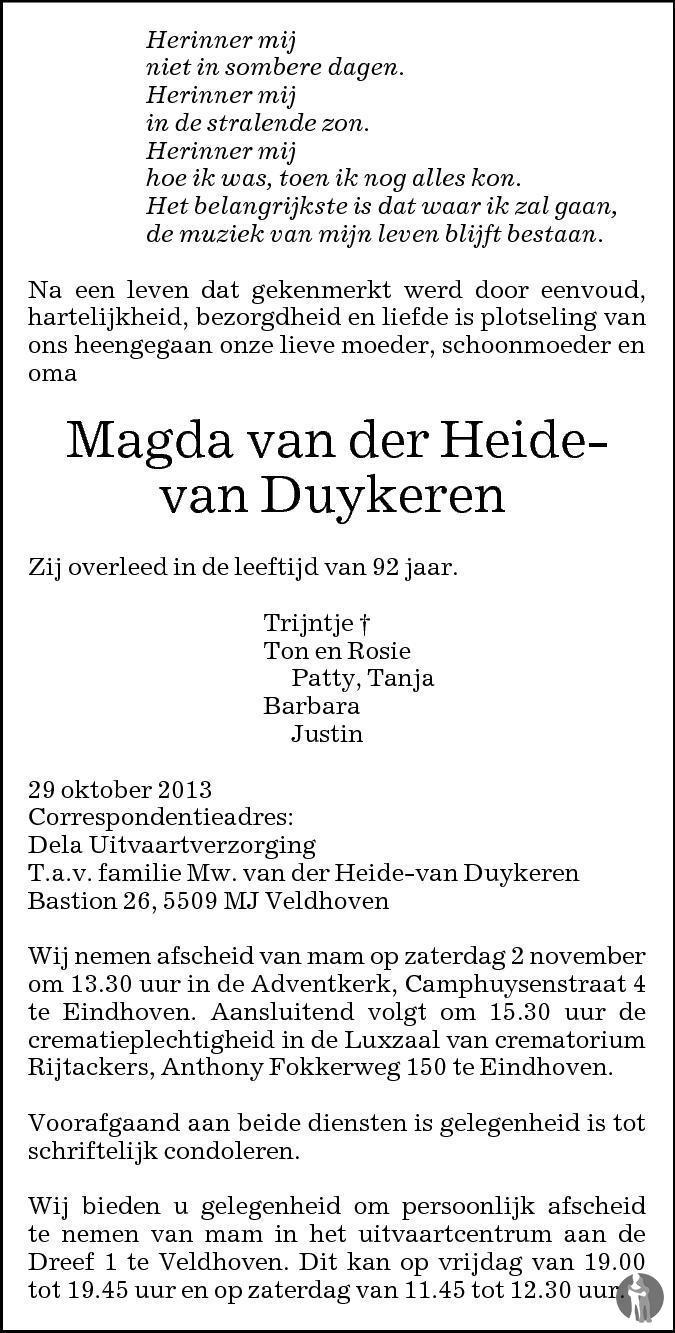 Overlijdensbericht van Magda van der Heide - van Duykeren in Eindhovens Dagblad