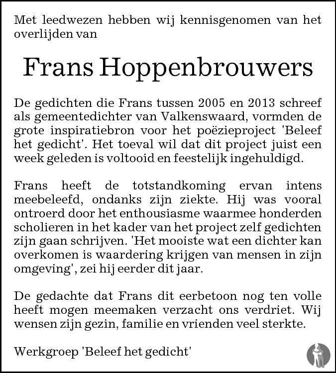 Overlijdensbericht van Frans Hoppenbrouwers in Eindhovens Dagblad