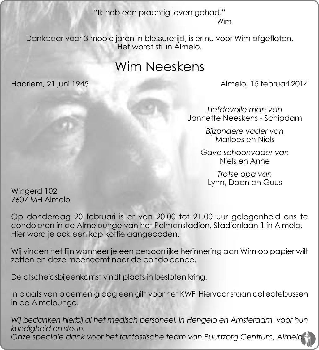 Wim Neeskens 15 02 2014 Overlijdensbericht En Condoleances