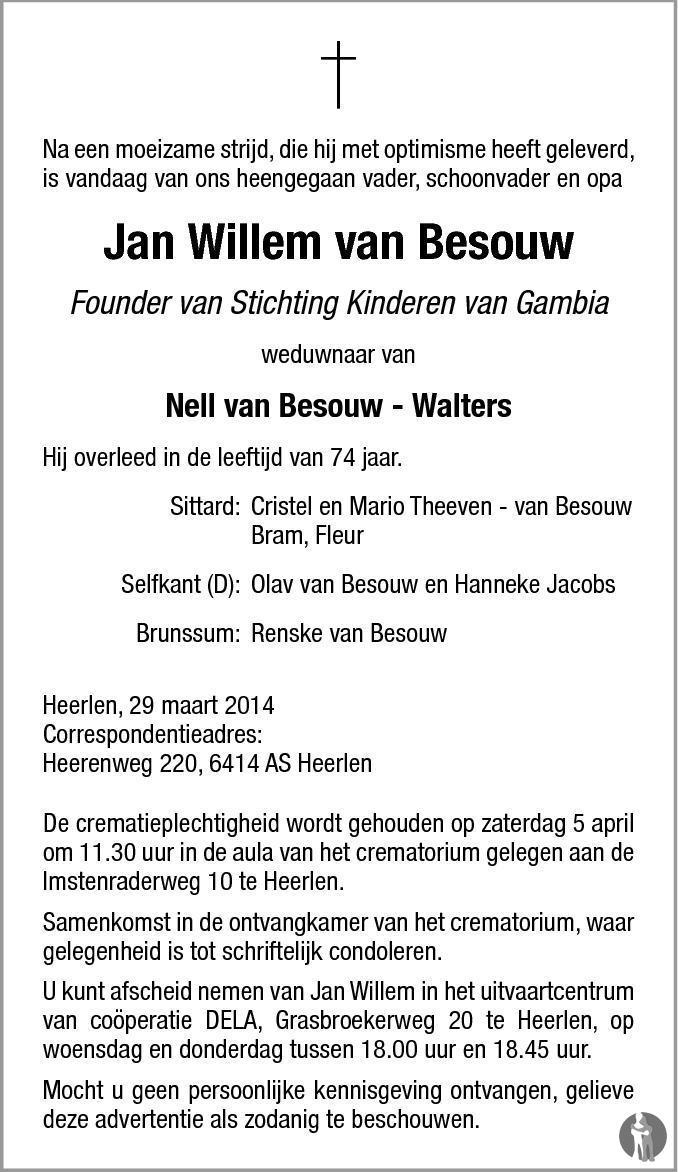 Jan Willem van Besouw 29032014 overlijdensbericht en