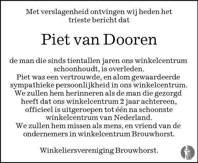 Overlijdensbericht van Piet van Dooren in Eindhovens Dagblad