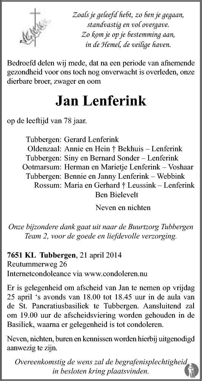 Jan Lenferink 21 04 2014 Overlijdensbericht En