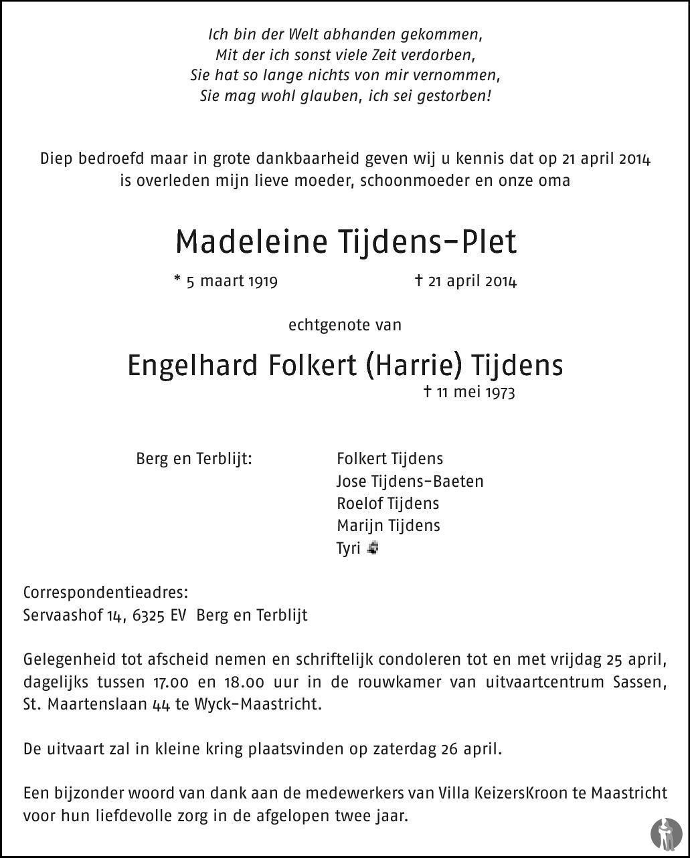 Overlijdensbericht van Madeleine Tijdens - Plet in De Limburger
