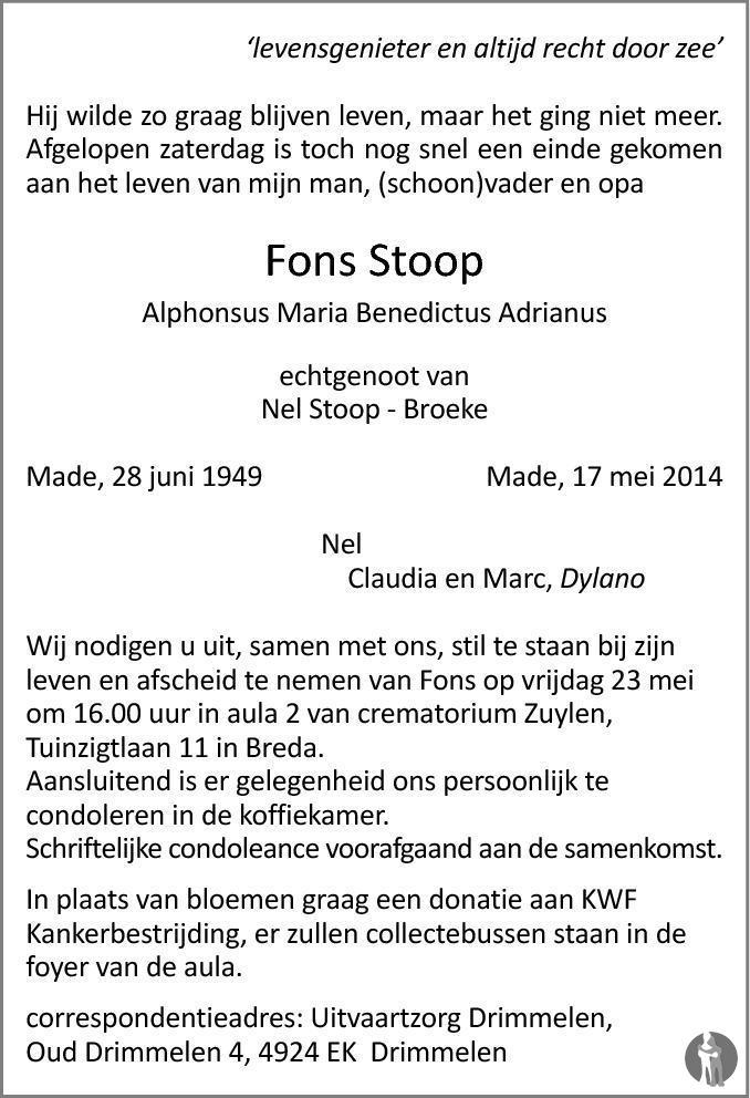 Alphonsus maria benedictus adrianus fons stoop 17 05 for Stoop eindhoven
